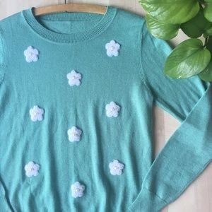 VINTAGE Daisy Floral Embellished Sweater Mint S/M